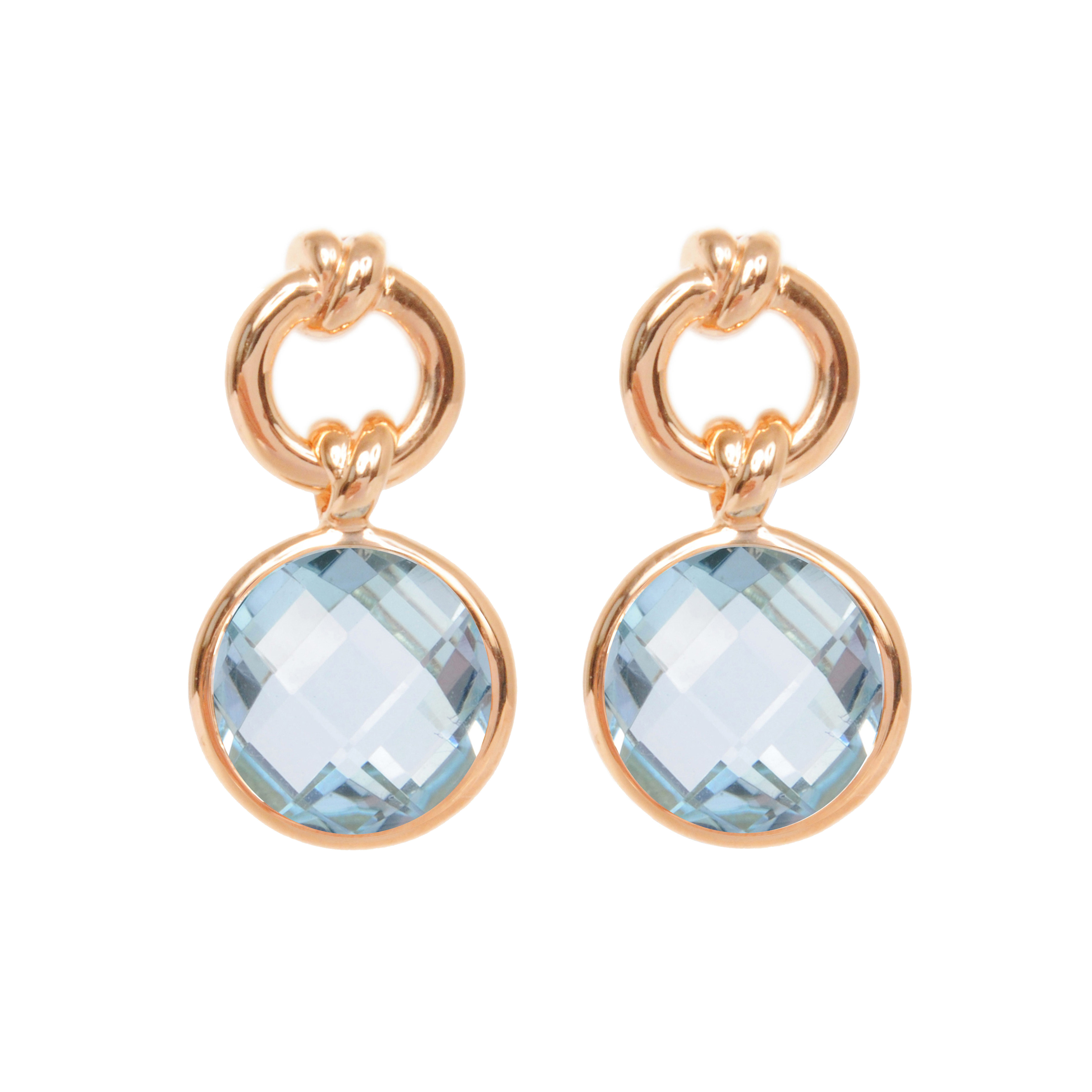 Davina Combe | Rose Gold Knot Drop Earrings with Blue Topaz