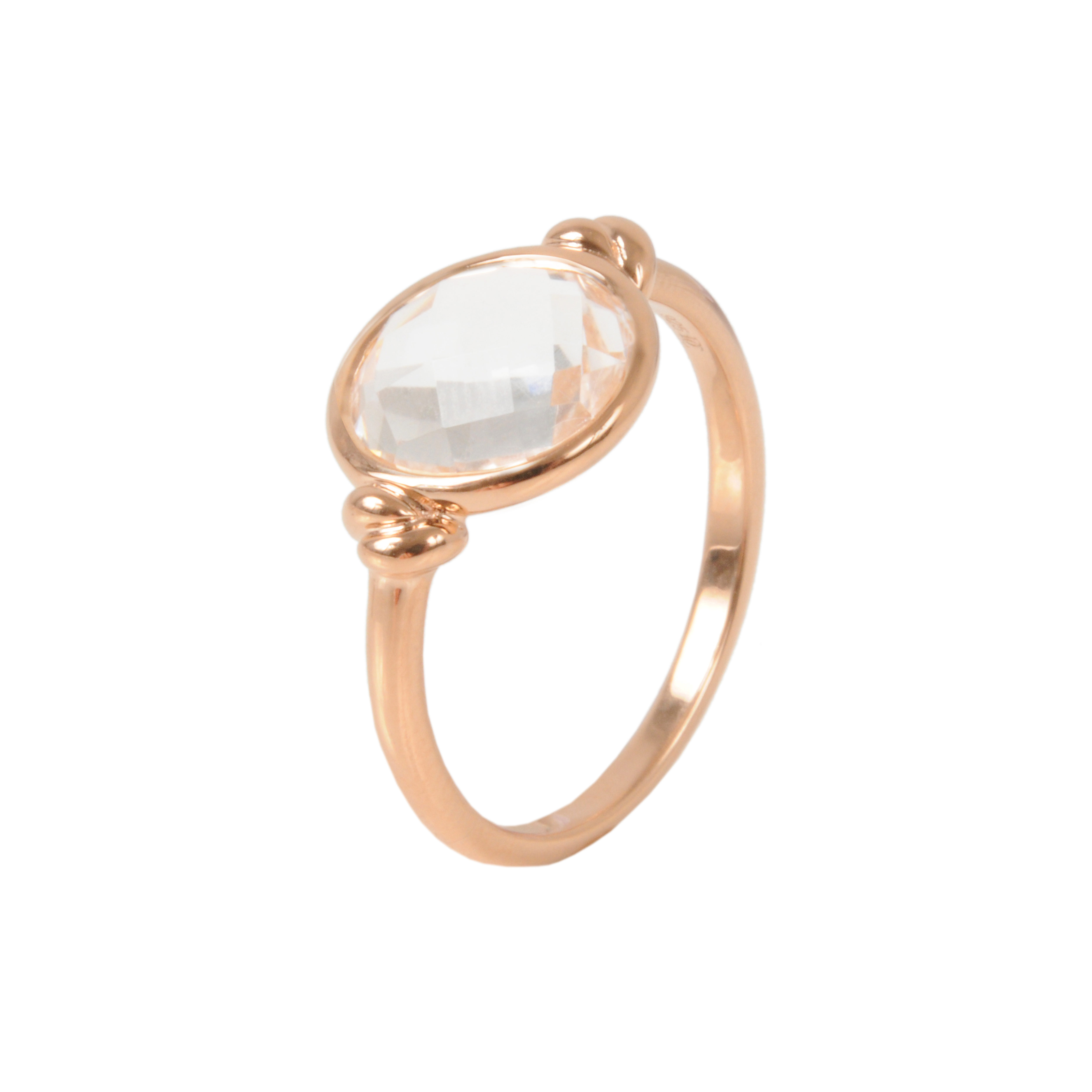 Davina Combe Rose Gold Knot Ring With Rock Crystal