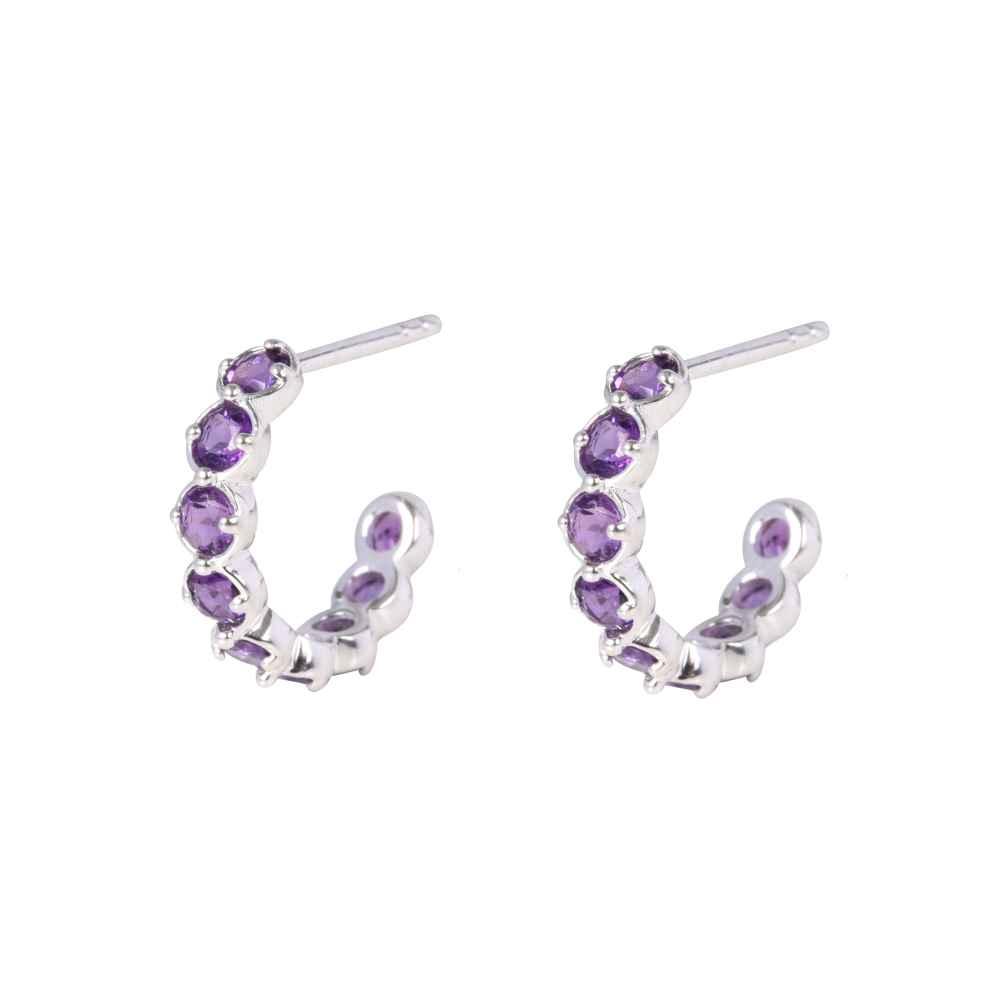Silver Amethyst Sienna Hoop Earrings