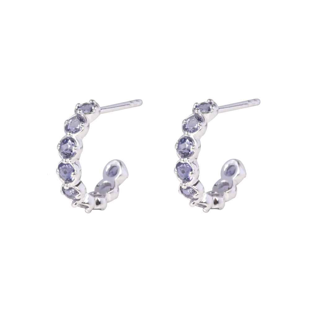 f1f4361bf Davina Combe | Silver Amethyst Sienna Hoop Earrings