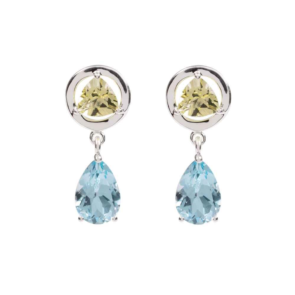 Silver lemon quartz and blue topaz pendant earrings davina combe silver lemon quartz and blue topaz pendant earrings mozeypictures Images