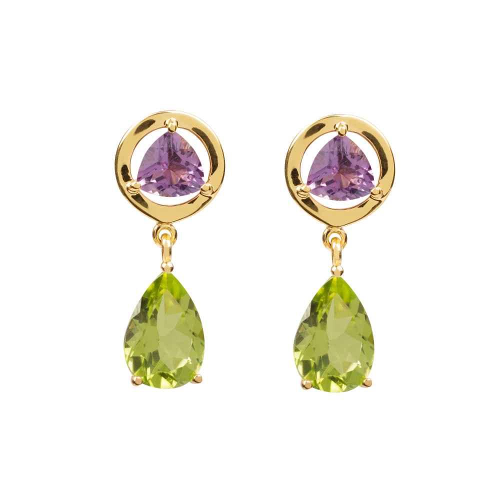 Amethyst And Peridot Pendant Earrings